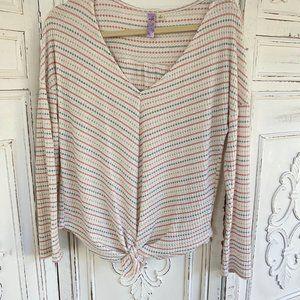 Long Sleeve Pink & Grey Jersey Top
